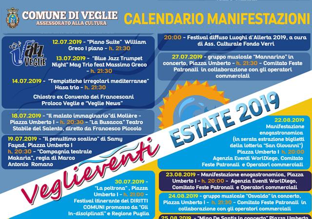 Calendario Feste Patronali Puglia.Veglieventi 2019 Un Ricco Calendario Per L Estate Vegliese
